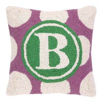 Monogram Letter B Hook Wool Throw Pillow