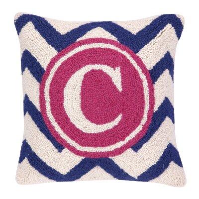Monogram Letter C Hook Wool Throw Pillow