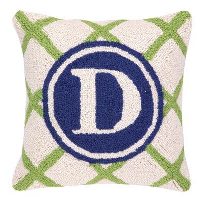 Monogram Letter D Hook Wool Throw Pillow