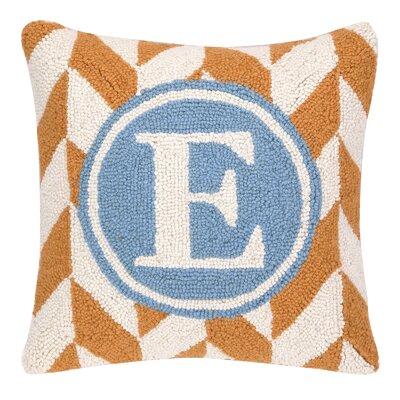 Monogram Letter E Hook Wool Throw Pillow