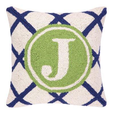 Monogram Letter J Hook Wool Throw Pillow