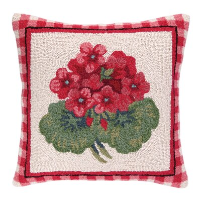 Geranium I Hook Wool Throw Pillow