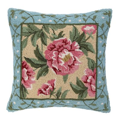 Peony II Hook Wool Throw Pillow