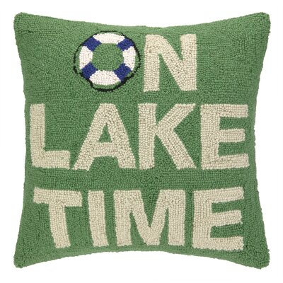 On Lake Time Hook Wool Throw Pillow