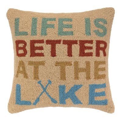 Life is Better at the Lake Hook Wool Throw Pillow
