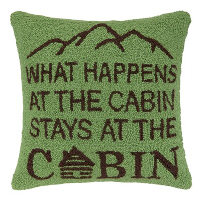 What Happens at the Cabin Hook Wool Throw Pillow