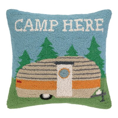 Camp Here Hook Wool Throw Pillow