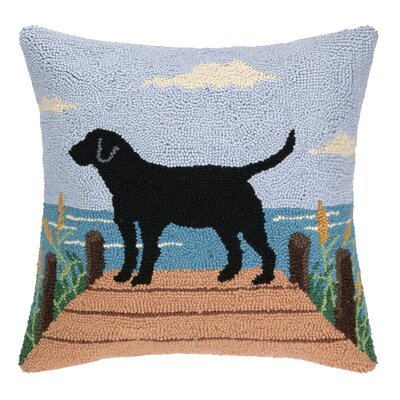 Lab On The Dock Hook Wool Throw Pillow