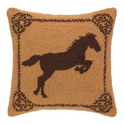 Rearing Horse Hook Wool Throw Pillow