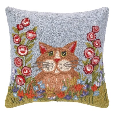 Spring Cat Hook Wool Throw Pillow