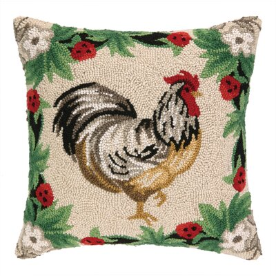 Rooster Strawberry II Hook Wool Throw Pillow