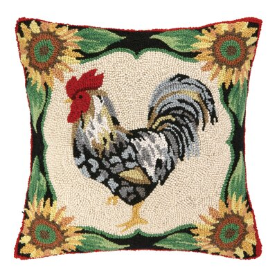 French Rooster I Hook Wool Throw Pillow
