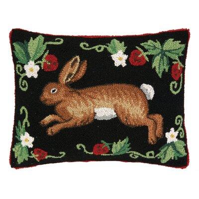 French Country Rabbit Hook Wool Lumbar Pillow