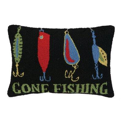 Gone Fishing Lures Hook Wool Lumbar Pillow