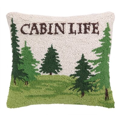 Cabin Life with Trees Hook Wool Throw Pillow