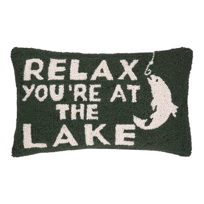 Relax Youre at the Lake Hook Wool Lumbar Pillow