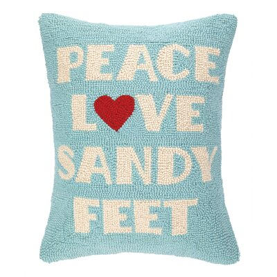 Peace Love Sandy Feet Hook Wool Lumbar Pillow