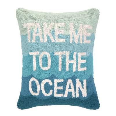 Take Me to the Ocean Hook Wool Lumbar Pillow