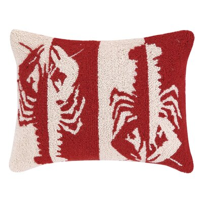 Double Colorway Lobsters Hook Wool Lumbar Pillow