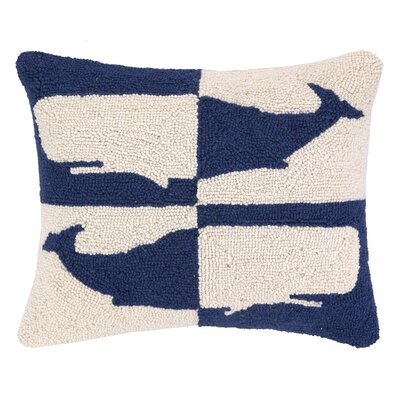 Double Colorway Whales Hook Wool Lumbar Pillow