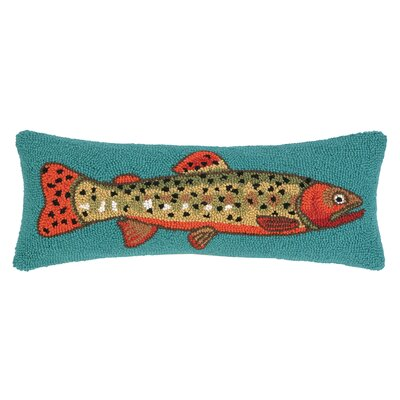 Trout Facing Right Hook Wool Lumbar Pillow
