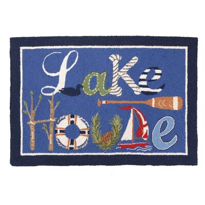 Lake House Hook Blue Area Rug