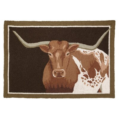 Longhorn Hook Brown Area Rug
