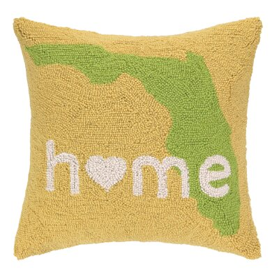 Home in Florida Hook Wool Throw Pillow
