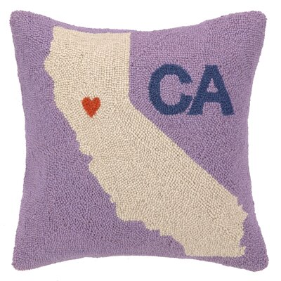 My Heart in California Hook Wool Throw Pillow