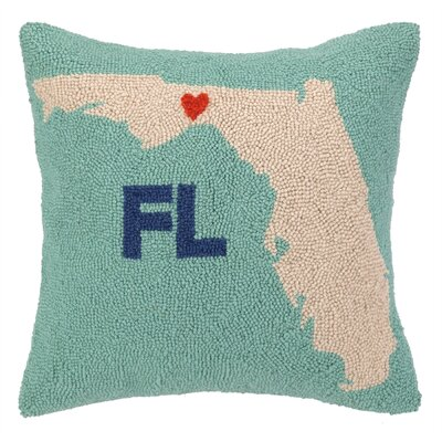 My Heart in Florida Hook Wool Throw Pillow