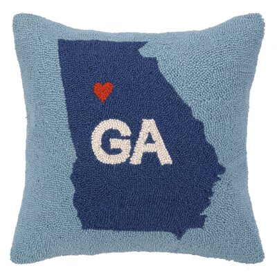 My Heart in Georgia Hook Wool Throw Pillow