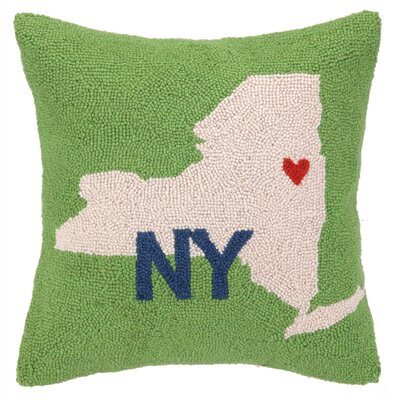 My Heart in New York Hook Wool Throw Pillow