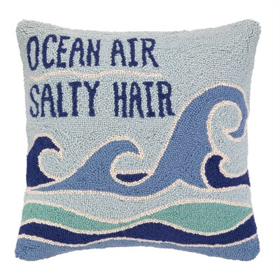 Ocean Air Salty Hair Hook Wool Throw Pillow
