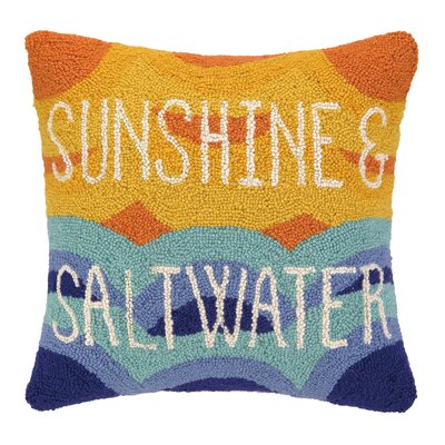 Sunshine and Salt Water Hook Wool Throw Pillow