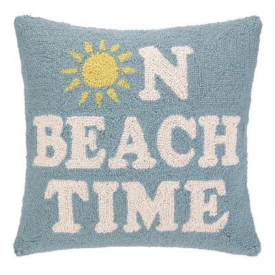 On Beach Time Hook Wool Throw Pillow
