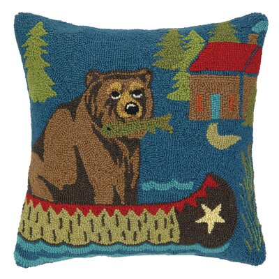 Bear on the Boat Hook Wool Throw Pillow