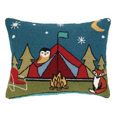 Camping Fox Hook Wool Lumbar Pillow