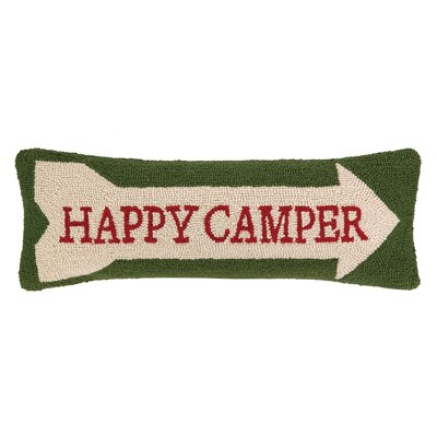 Happy Camper Hook Wool Lumbar Pillow