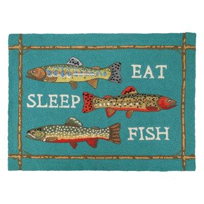 Eat Sleep Fish Hook Turquoise Area Rug
