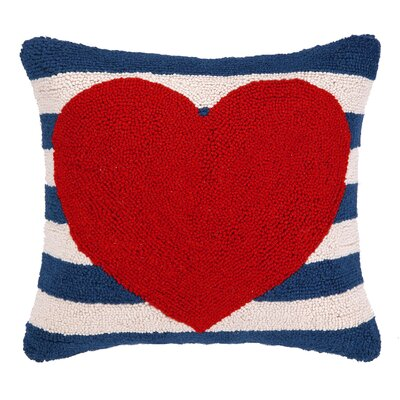 Heart With Stripe Hook Wool Throw Pillow Color: Red / Navy