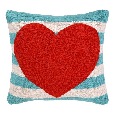 Heart with Stripe Hook Wool Throw Pillow Color: Red / Turquoise