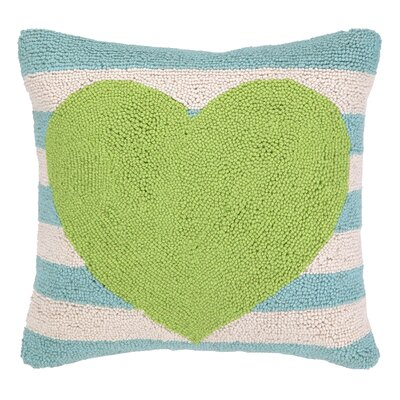 Heart With Stripe Hook Wool Throw Pillow Color: Green / Blue
