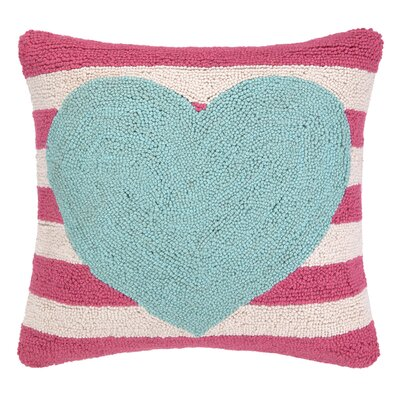 Heart With Stripe Hook Wool Throw Pillow Color: Blue / Pink