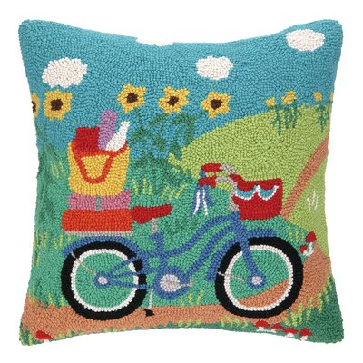Going Places Bike Hook Wool Throw Pillow