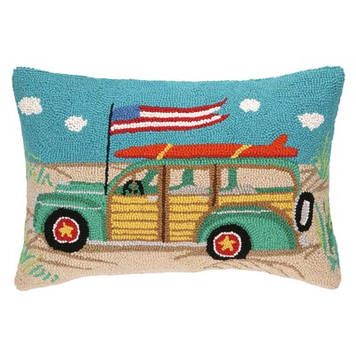 Going Places Beach Wagon Hook Wool Lumbar Pillow