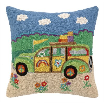 Going Places Station Wagon Hook Wool Throw Pillow