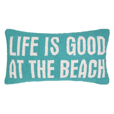 Life is Good at the Beach Hook Wool Lumbar Pillow