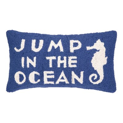 Jump in the Ocean Hook Wool Lumbar Pillow