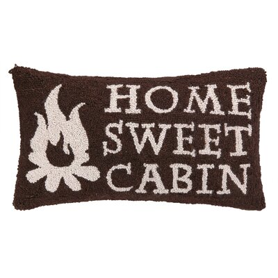 Home Sweet Cabin Hook Wool Lumbar Pillow