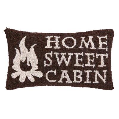 Home Sweet Cabin Hook Wool Lumbar Pillow